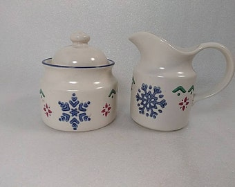 Vintage Pfaltzgraff Holiday Cream and Sugar Set