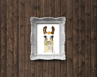 Llama watercolor painting - art print