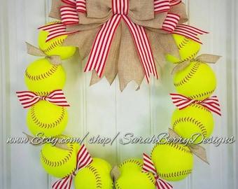 Softball Wreath - Made with REAL softballs!!! Sports Wreath - Baseball - Coach's Gifts- Girls Softball