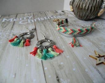Green and coral tassel bracelet earrings set.