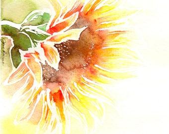 Sunflower art print, watercolor sunflower painting, Sunflower botanical illustration, sunflower printable art, Digital Download, TWO-AP100
