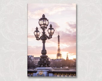 Paris Photo on Canvas, Mauve Evening, Street Lamp, Eiffel Tower, Bridge, French Decor, Gallery Wrapped Canvas, Large Wall Art