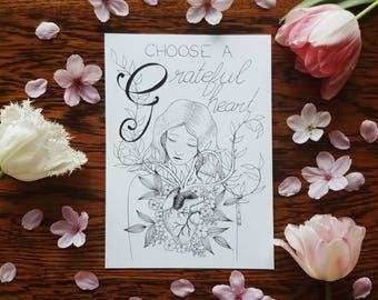 G for Grateful Heart A5 Print Selfabet Self care