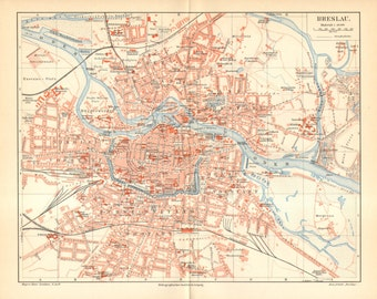 1902 Original Antique City Map of Breslau - Wroclaw