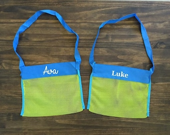 Kids Personalized Mesh Beach Bag Cursive or Print Name