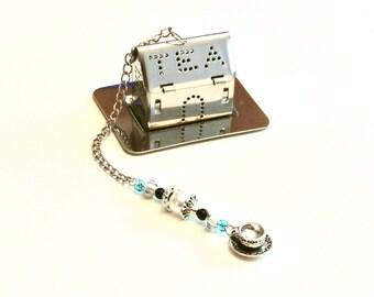 Beaded Tea Infuser with Teacup Charm, House Tea Infuser, Mesh Tea Ball, Mad Hatter Tea Party, Faux Pearl & Blue Beads, High Tea, Tea Gift