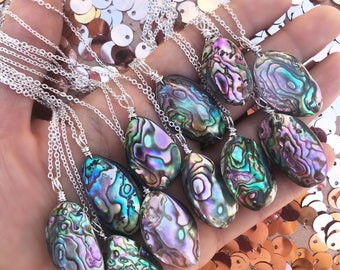 """Mini ABALONE mermaid treasure necklace // sterling plated // 18"""" // gifts // ready to ship"""