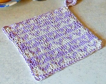 Potholder knitting pattern, double knitting colorwork pattern, knit dishcloth, kitchen accessory, two color hearts potholder, cotton cloth