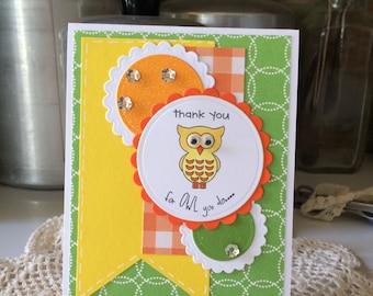 Owl Thank You Teacher Appreciation Card