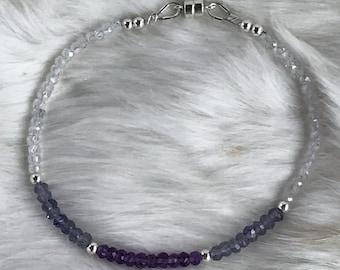 Genuine Iolite, Amethyst, White Zircon, & Sterling Silver Seed Bead gemstone bracelet - 3.5mm
