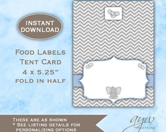 Food Label for Baby Shower, Elephant Baby Shower Decor Boy, DOWNLOAD, Little Peanut Food Label Printable Food Label for Baby Shower - ELPS1