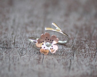 Sakura Ring - Japanese Cherry Blossom Branch Adjustable Ring - Sterling Silver and Copper Cherry Blossom Ring