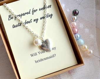 Heart necklace set of 5 five Bridesmaid jewelry set of 5 Personalized bridesmaid gift set of 5 Wedding necklace Will You be my bridesmaid