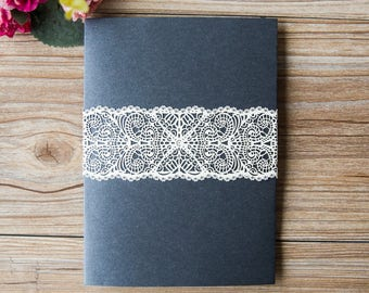 Luxurious Eyelash Lace Belly Bands  for Wedding Invitations