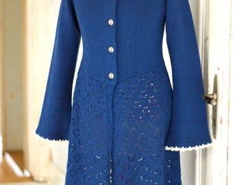 Action! % !   Women's knit dress, cardigan, lace pattern, handmade