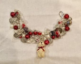 Valentines Day Charm Bracelet , Teddy Bear Charm Bracelet , Love Charm Bracelet , Valentine's Day Charm Bracelet