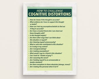 How To Challenge Cognitive Distortions Therapy Poster