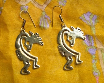 Kokopelli Earrings. Kokopelli Dangle Earrings. Spiritual Jewelry. Tribal Earrings. Native Americal Jewelry.