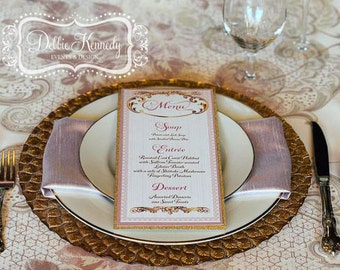 Biltmore Wedding Bespoke Menu Cards - DEPOSIT - Rose Gold Wedding Reception - Reception Menus, Custom Design Wedding Decor Event Menu