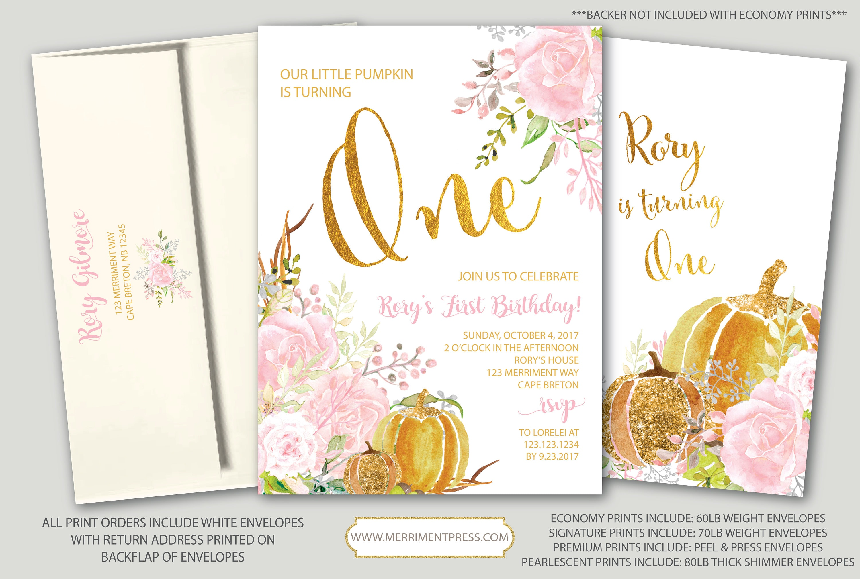 Pumpkin first birthday invitation fall first birthday one gold pumpkin first birthday invitation fall first birthday one gold pink blush floral watercolor little pumpkin carmel collection filmwisefo