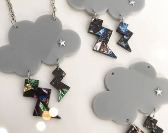 CLOUD THUNDERS confetti laser cut necklace