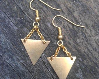 brass triangle earrings, brass tribal earrings, geometric earrings, triangle drop earrings, triangle dangle earrings, tribal earrings