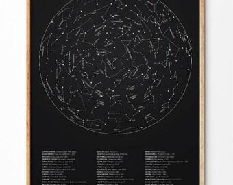Contellation print, Constellation art, Constellation map, Star chart, Space art, Ursa major, Ursa minor, Constellations, Wall art