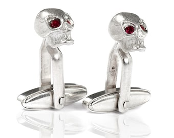 Silver Cufflinks skull with red eyes, gift for him, men jewelry, biker jewelry, rockabilly