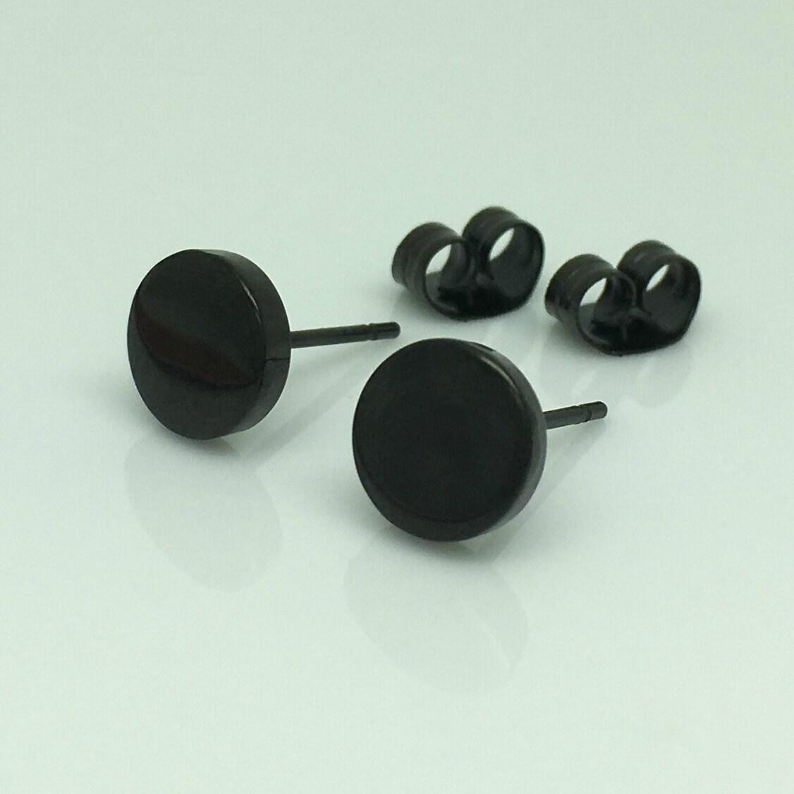 Black Disc Stud Earrings