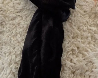 Black soft velvet scarf, up cycled scarf, infinity scarf, loop scarf, eternity scarf, neck-wear,* Great gift