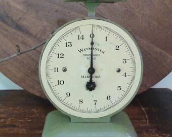 art deco kitchen scales green waymaster household scales / vintage kitchen scales / primitive / green scales / vintage kitchen
