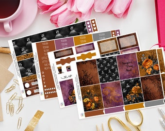 Inspire Your Soul | Planner Sticker Kit for Erin Condren | Weekly Kit, Vertical Planner, Autumn, Orange, Floral, Black, Lace, Flowers