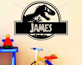 Personalised Jurassic Park Name Dinosaur Decor Vinyl Wall Sticker Decal Bedroom .