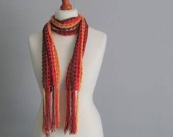 Bamboo mesh scarf with fringe - chocolate brown, saffron rust, gold yellow - metallic - eco friendly - fairtrade