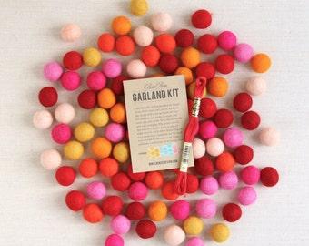 Felt Pom-Poms // Warms Palette (with optional Garland Kit) // Felt Balls, Felt Garland DIY, Pink Orange Red Poms, Warm Colors, Felt Beads