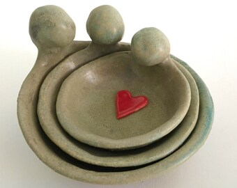 Goddess Pottery Nesting Bowl Set for Meditation Altar, Catchall, or Food