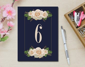 INSTANT DOWNLOAD Table Numbers 6-10 Blue with White Roses