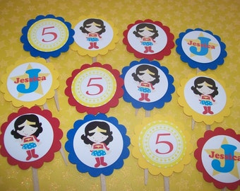 Wonder Woman Superhero cupcake toppers set of 12