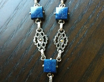 Antique Vintage Art Deco Marcasite and Lapis Necklace