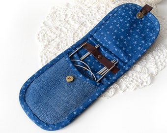 Recycled denim knitting needle case Crochet hook organizer Circular needle storage Travel needle case Knitting accessories Knitters man gift