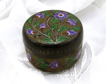 Black Lacquer Trinket Box, Vintage Hand Painted Lacquer Box, Collectible Box, Jewelry Box, Keepsake Box