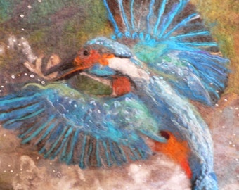 OOAK Kingfisher in flight felted and embroidered picture