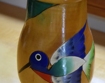 Wooden hand carved, hand painted, intricate bird vase