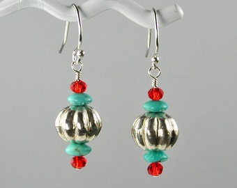 Sterling Pumpkin Beads w Turquoise and Red Crystal Dangle Earrings
