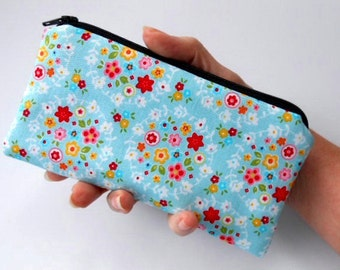 Zipper Pouch Smart Phone Pouch Eco Friendly Padded NEW SIZE Blue Bliss