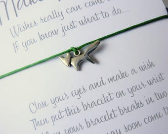 Wish Bracelet - Fox Charm / Foxy Bracelet / Wildlife / Woodland Jewellery / Choice of colours / Wish Knots