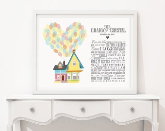 Disney UP Song Lyrics or Wedding Vow Wall Art - Custom Carl and Ellie Greatest Adventure - Adventure is Out There! Paper Anniversary Gift