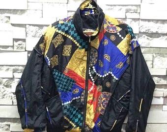 Rare Vintage 90s Rock Creek Royalty Swag Windbreaker Jacket size Large L  / Multi colour jacket/Art Abstract  Jacket / Nylon Jacket