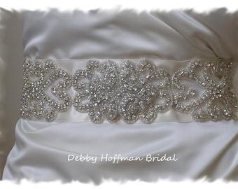Vintage Inspired Bridal Belt, Silver Beaded Rhinestone Crystal Bridal Sash, Wide Jeweled Wedding Dress Sash, Wedding Belt, No. 2011S31171-2