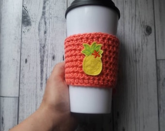 Pineapple cup cozy, coffee cup cozy, pink cup cozy, mug cozy, pineapple coffee sleeve, pineapple gift, pineapple mug cozy, fruit mug cozy
